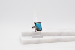 Rectangular Natural Hubei Turquoise and Sterling Silver Ring