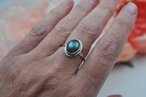 Simple Oval Colorful Labradorite Sterling Silver Ring
