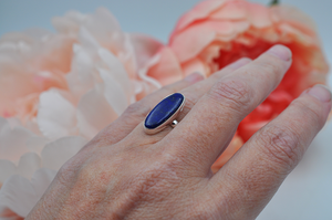 Oblong Lapis Lazuli and Sterling Silver Ring