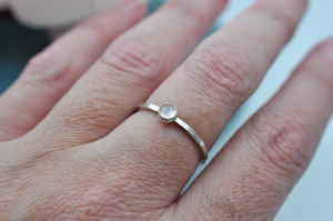 Rainbow Moonstone Mix & Match Hammered Sterling Silver Stacking Ring