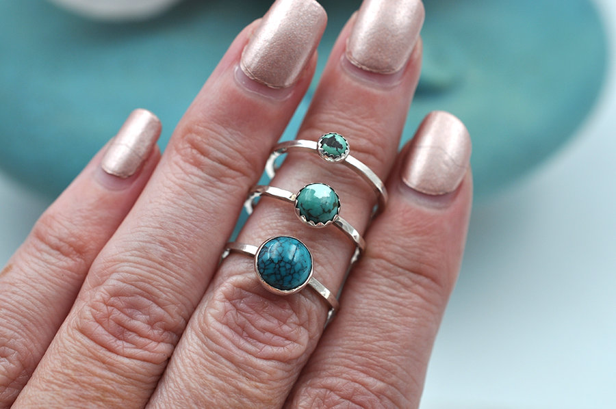 Turquoise Mix & Match Sterling Silver Hammered Stacking Ring