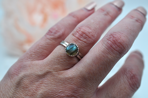 Labradorite Mix & Match Sterling Silver Hammered Stacking Ring