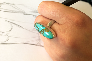 Oblong Kingman Turquoise and Sterling Silver Ring