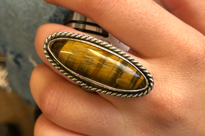 Long Oval Statement Tigers Eye Ring in Sterling Silver