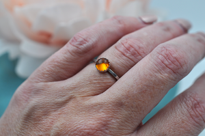 Amber Mix & Match Sterling Silver Hammered  Stacking Ring