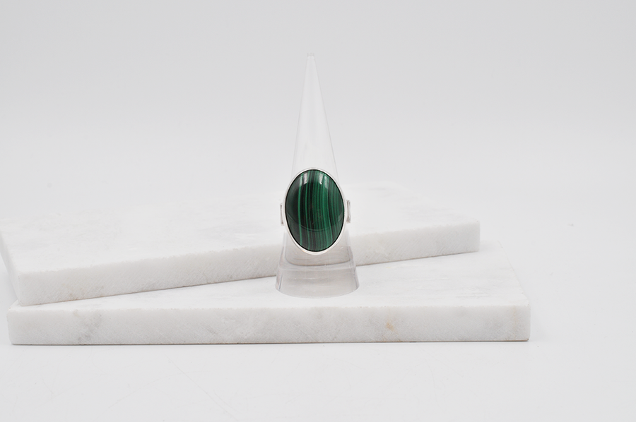 Bright Green Oval Malachite and Sterling Silver Ring