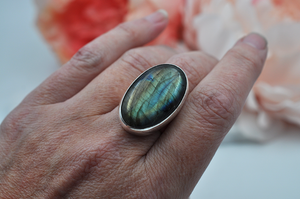 Large Oval Labradorite Statement Ring in Sterling Silver