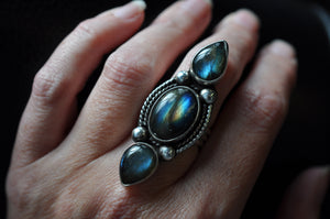 Three Stone Bright Flashy Labradorite Statement Ring in Sterling Silver