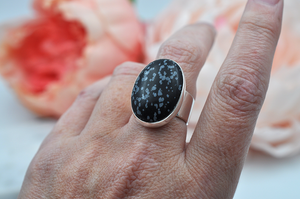 Large Oval Snowflake Obsidian Ring in Sterling Silver