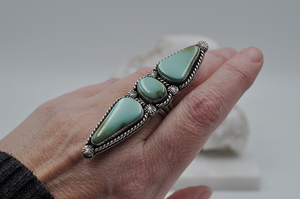 Three Stone Natural Royston Turquoise Statement Ring in Sterling Silver