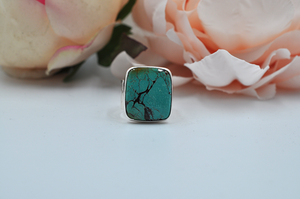 Big Bold Natural Hubei Turquoise Ring in Sterling Silver