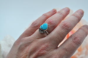 Morenci Turquoise Ring with Stamped Detail