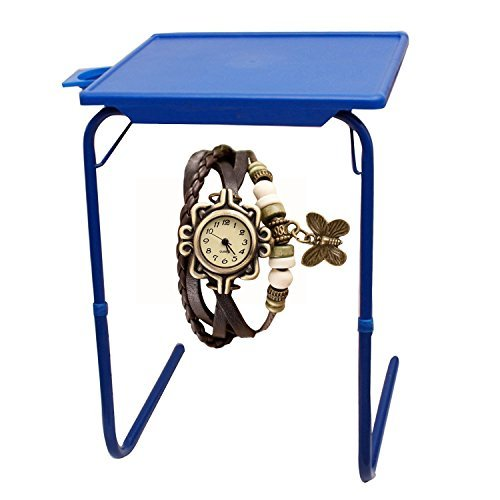 Graphitos Multi Purpose Foldable And Adjustable Table Mate With Cup Holder -BLUE  WithButterfly watch