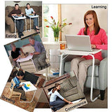 Graphitos Multi Purpose Foldable And Adjustable Table Mate With Cup Holder-BLACK WHITE LEGS