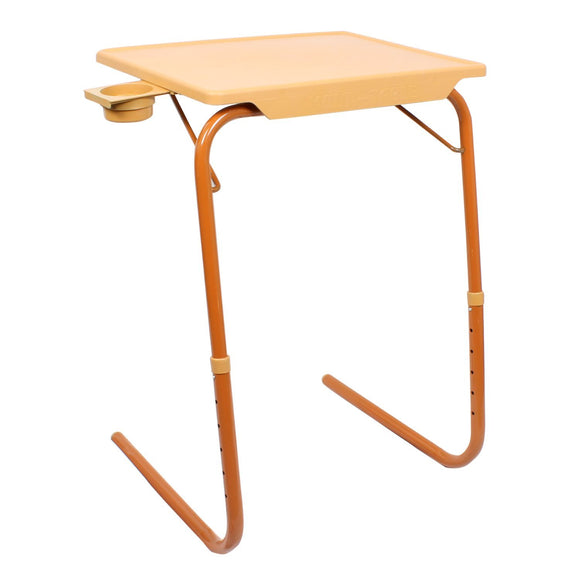 Graphitos Multi Purpose Foldable And Adjustable Table Mate With Cup Holder-Sandal Wood Color