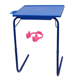 Graphitos Multi Purpose Foldable And Adjustable Table Mate With Cup Holder-BLUE OK