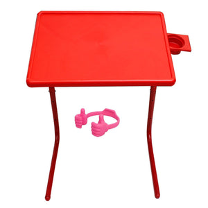 Graphitos Multi Purpose Foldable And Adjustable Table Mate With Cup Holder-Red table with ok stand (colour maybe vary)