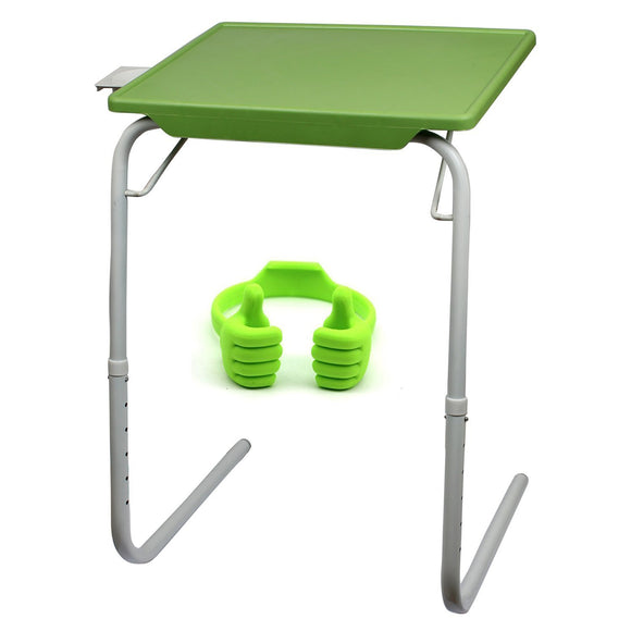 Graphitos Multi Purpose Foldable And Adjustable Table Mate With Cup Holder - GREEN OK
