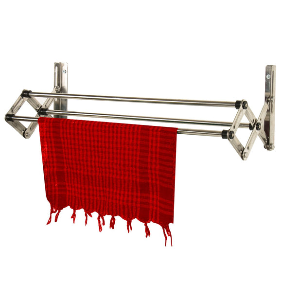 Graphitos Stainless Steel Expandable and Collapsible Cloths Hanger | Wall Mounted Cloth Dryer Stand 3 Lines