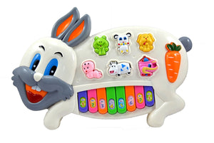 Graphitos Stylish Rabbit Musical Piano for Kids with 3 Modes Animal Sounds, Flashing Lights & Wonderful Music(Random Color)