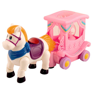 Graphitos Cartoon Unicorn with Light & Music Small Carriage Toys for Kids Happy Pony Musical Toys