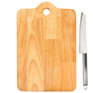 Graphitos Natural rubberwood Wooden Chopping Board with Knife