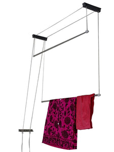 Graphitos Stainless Steel Rust Proof Ceiling Clothes Hanger Roof Mount Cloth Dryer with Individual Dropdown Railers (2 Pipes) (3 Feets)