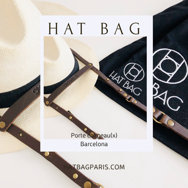 "Porte Chapeau Hat Bag ""Barcelona"" en cuir marron foncé - Hat Bag Paris"