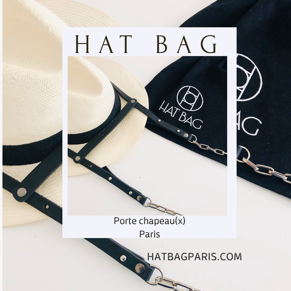 "Porte Chapeau Hat Bag ""Paris"" en cuir noir et chainettes argent - hat bag paris"