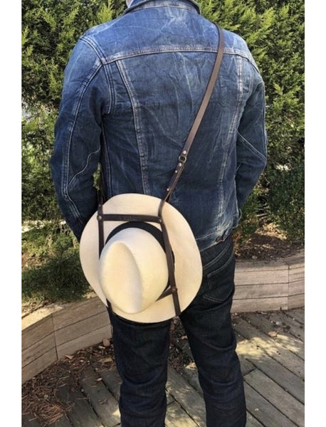 Porte chapeau Hat Bag en cuir + pochon de rangement / Leather Hat Bag + storage pouch