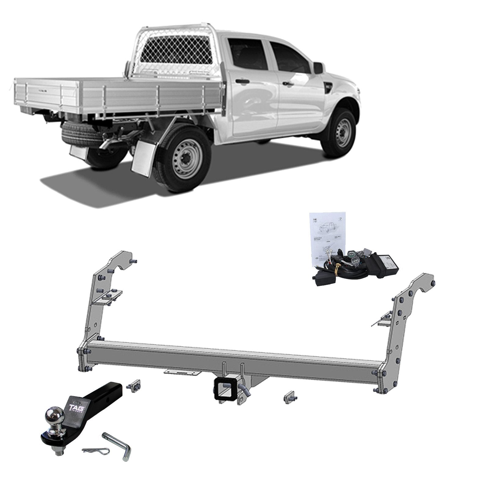 TAG Heavy Duty Towbar to suit Ford Ranger (09/2014 - 07/2015) - Direct Fit CAN-Bus Harness suits Vehicles with Black CAN Connector