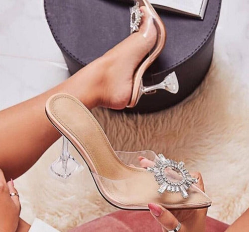 Shoes Woman Thin Heels Slides Flowe Flower Transparent Crystal