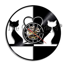 Load image into Gallery viewer, DIY Love Cats Vinyl Record Wall Clock