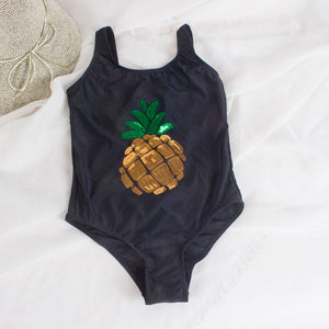 swimsuits pineapple decoration kids girls one piece