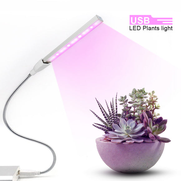 USB LED Plant Grow Lamp 5V 3W 150Lm Full Spectrum Lights Silvery Body Led Grow Light Outdoor For Hydroponics System Greenhouse
