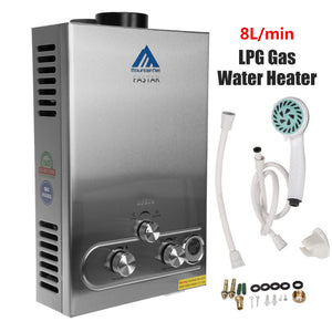 Ship from Canada! New 8L LPG Propane Tankless Hot Water Heater Shower Boiler LCD Screen Function