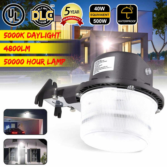 4800lm Super-bright 40W Dusk To Dawn LED Barn Light Farm Garage Outdoor Security Wall Lamps AC100-277V  5000K White Lights
