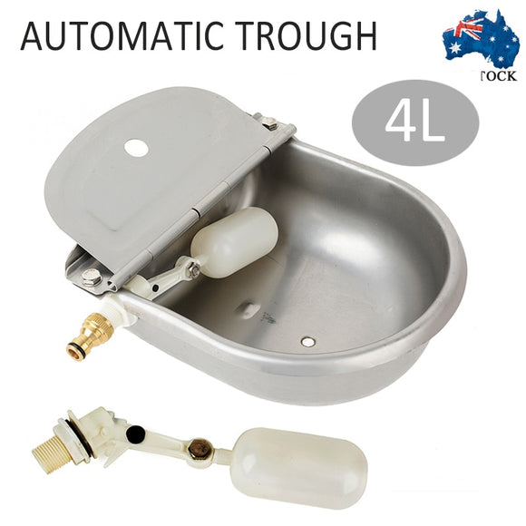 4L Automatic Water Trough Stainless Steel Auto Fill Bowl for Sheep Dog Chicken Cow Farm Animal Feeding Supplies