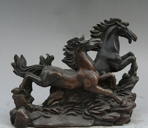 Chinese Bronze Fengshui Auspicious Success Lucky Animal Running Two Horse Statue