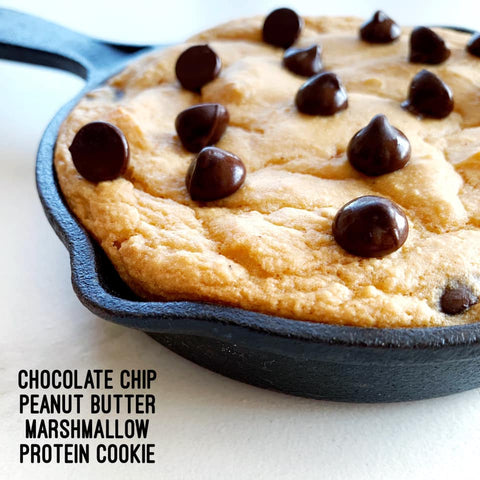 peanut butter marshmallow cookie protein skillet with chocolate chips