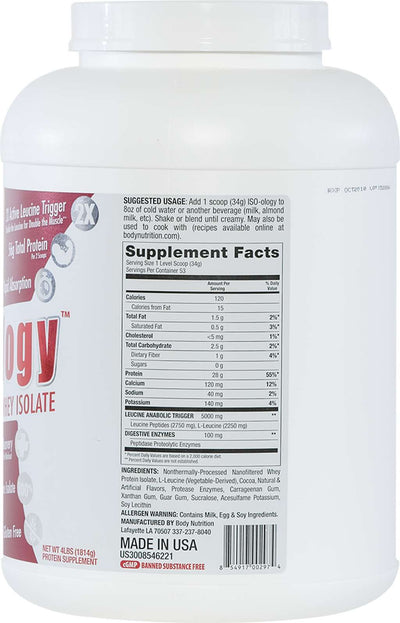 ISO-ology: 100% Leucine-Enhanced Whey Isolate - Chocolate - 4lb (53 Servings)