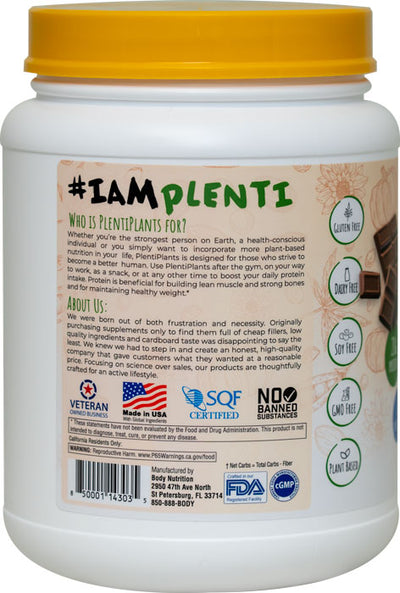 PlentiPlants vegan protein creamy chocolate 2lb container