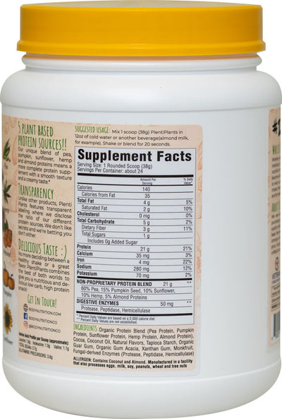 PlentiPlants vegan protein creamy chocolate 2lb container supplement facts