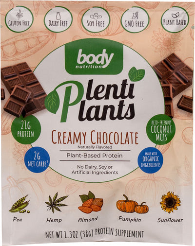 PlentiPlants vegan protein creamy chocolate  sample packet