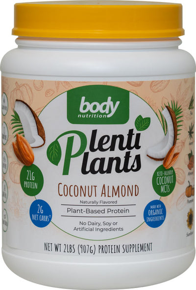 PlentiPlants vegan protein coconut almond 2lb container