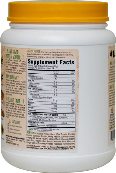 PlentiPlants vegan protein coconut almond 2lb container supplement facts