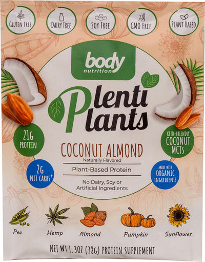 PlentiPlants vegan protein coconut almond sample packet