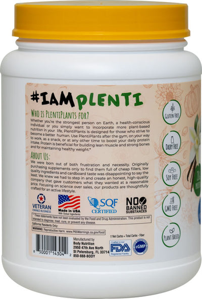 PlentiPlants vegan protein vanilla bean 2lb container