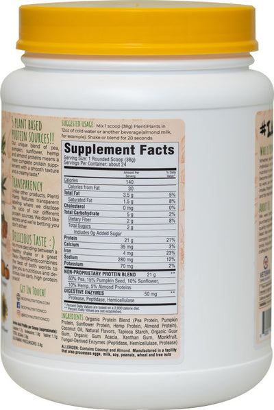 PlentiPlants vegan protein vanilla bean 2lb container supplement facts