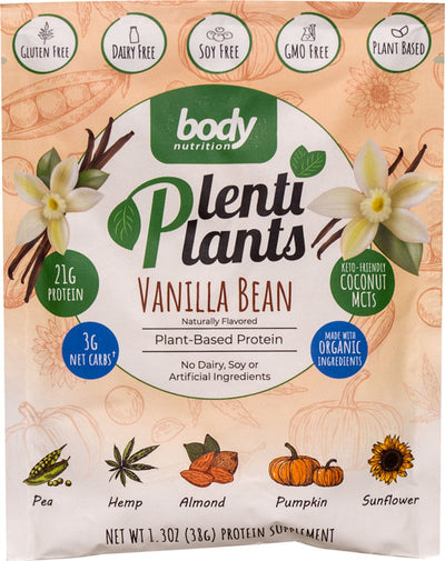 PlentiPlants vegan protein vanilla bean sample packet
